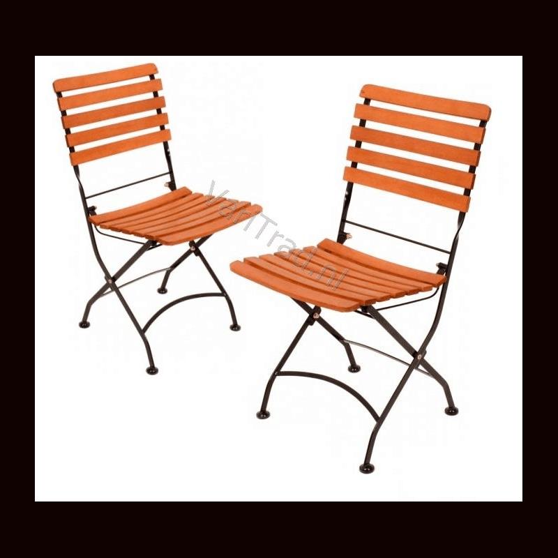 Set vouwstoelen zonder armleuning belegd met eucalyptus hardhout met metalen onderstel