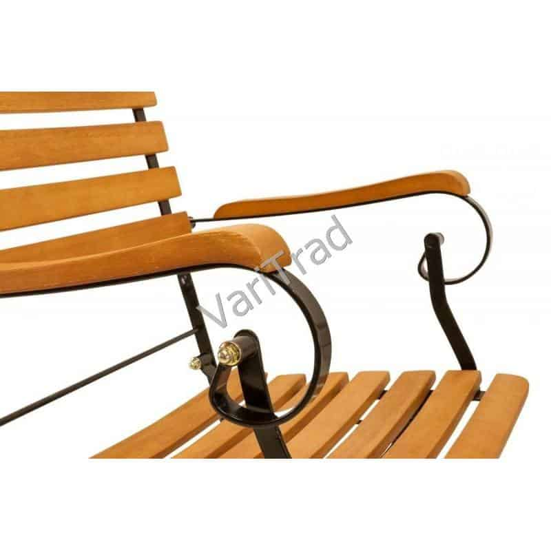 Set Vouwstoelen met armleuning belegd met eucalyptus hardhout met smeedijzeren onderstel