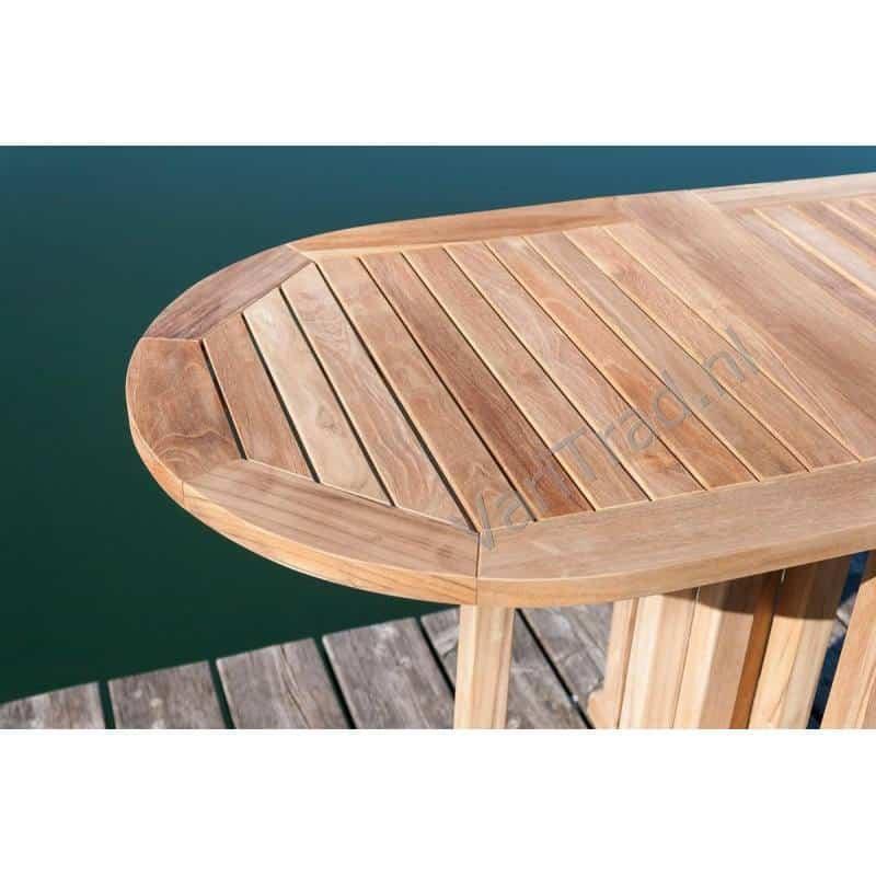Teak tuintafel balkontafel scheepstafel inklapbaar onbehandeld ovaal