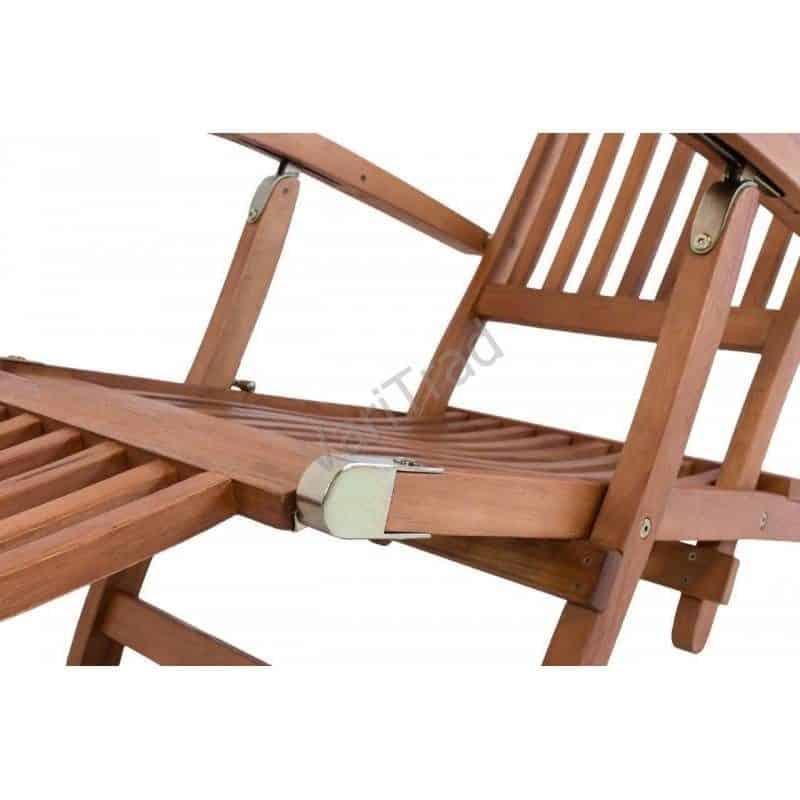 Deckchair, ligstoel eucalyptus hout relax zonnestoel