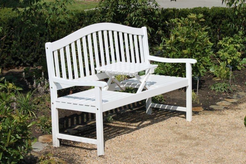 witte tuinbank met opklaptafel