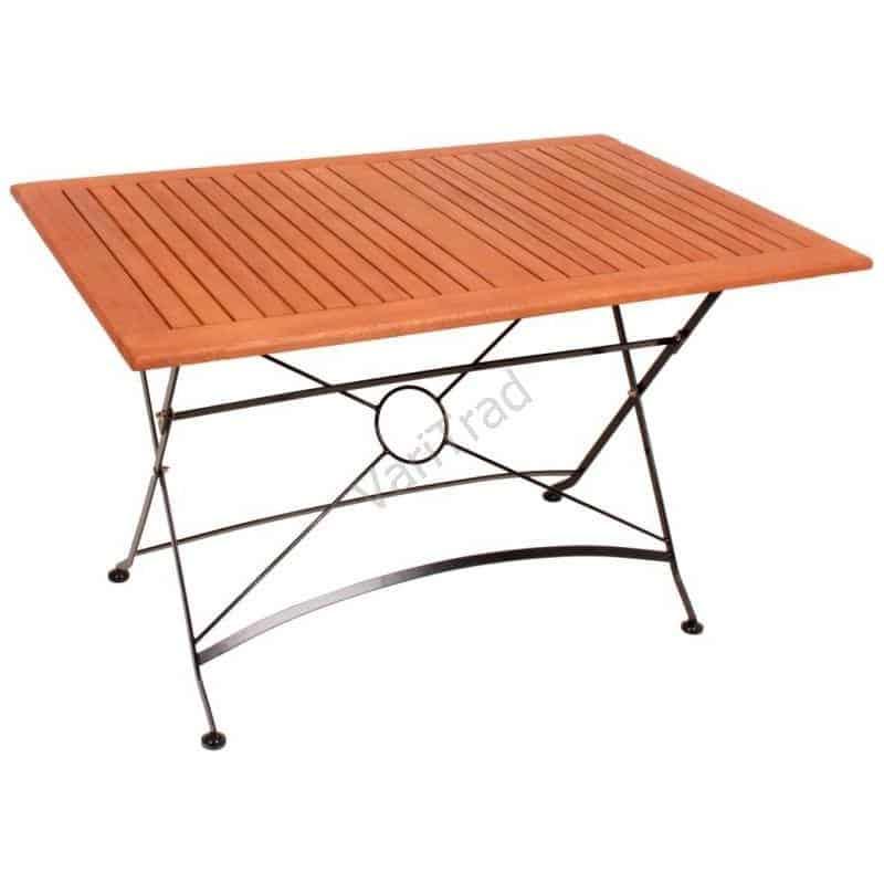 Rechthoekige tafel Eucalyptus hout met metalen frame inklapbaar