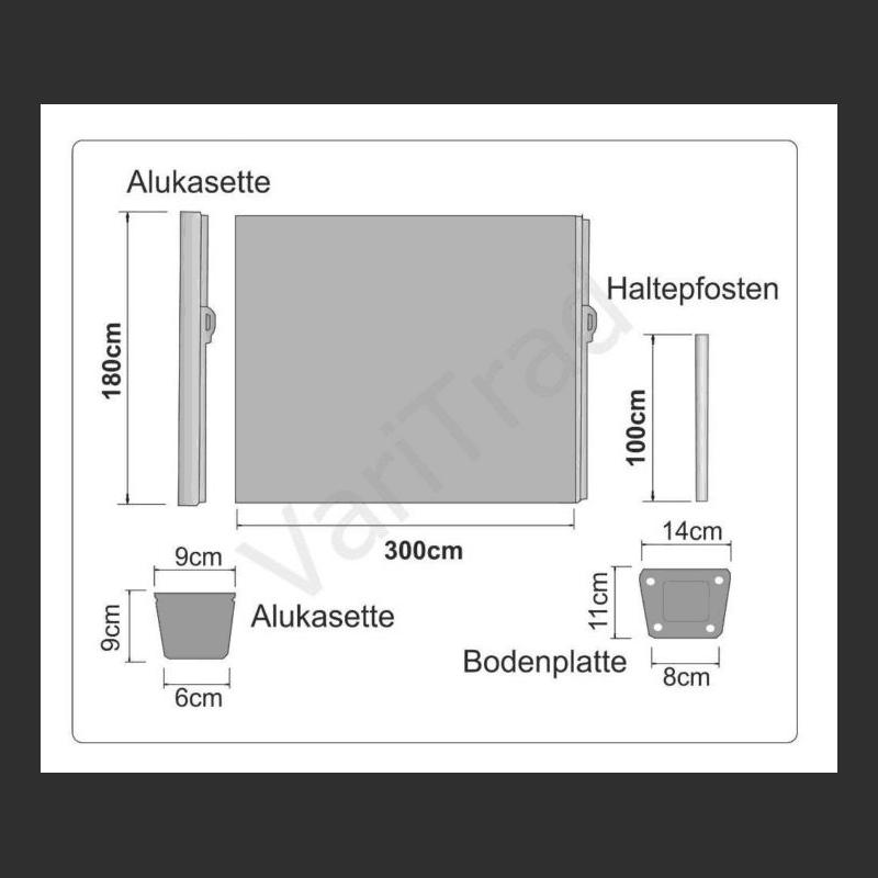 Windscherm voorzien van oprol cassette Let op 1.80 mtr Nu € 189
