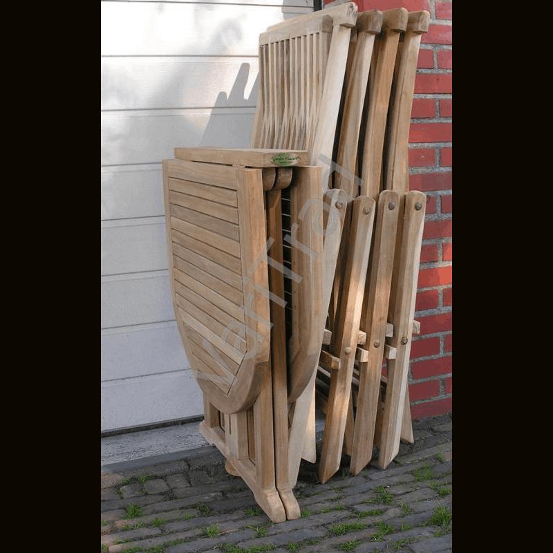 Teakhouten tuinset met vouwstoelen en 3-voudig inklapbare tuintafel