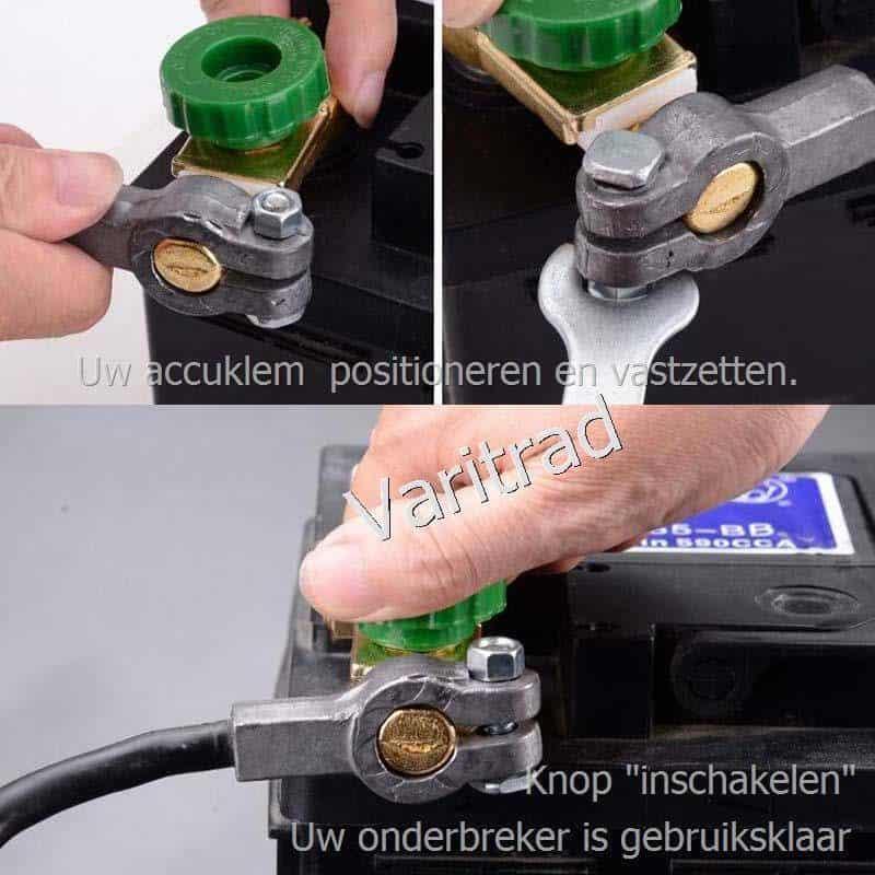 Accupoolklem akkuklem (-) met stroomonderbreker