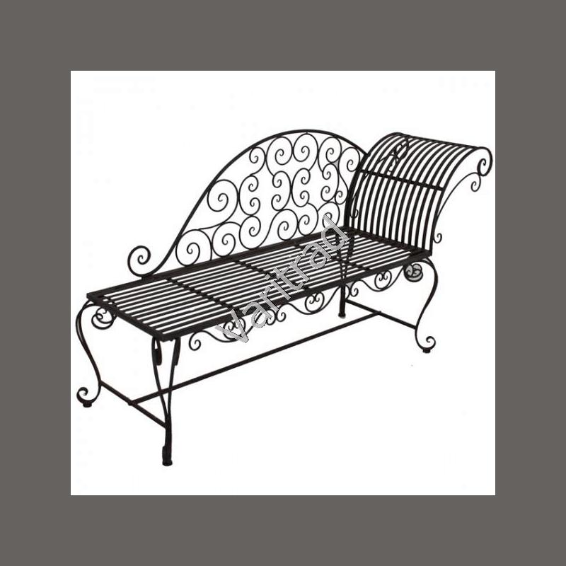 Tuinbank tuinmeubilair chaise longue van metaal brocante stijl