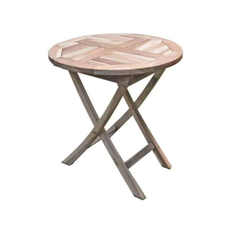 Teak houten tuintafel klapbaar 70 cm rond
