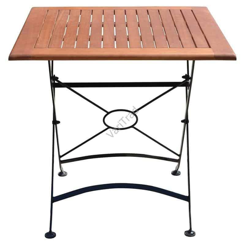 Houten tuintafel balkontafel bistro hardhout met smeedijzeren onderstel