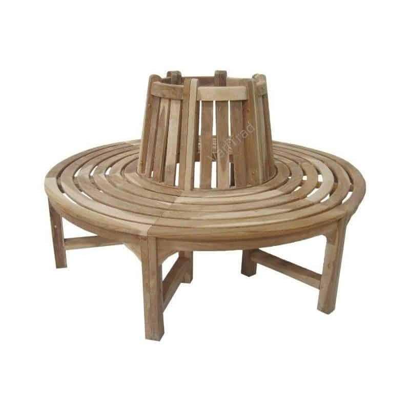 Boombank halve houten bank van massief teakhout