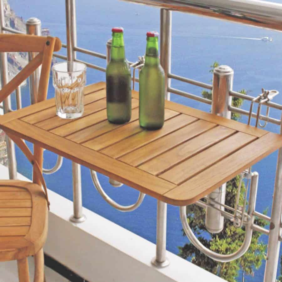 balkontafel teak met verzinkt frame