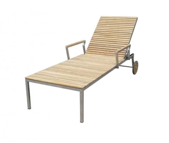 Tuinmeubel ligstoel teak met RVS frame